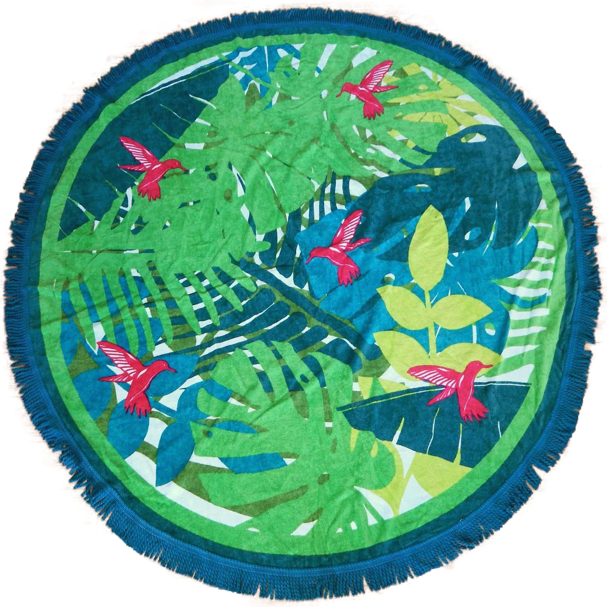 Serviette de plage éponge velours ronde vert tsamba  150