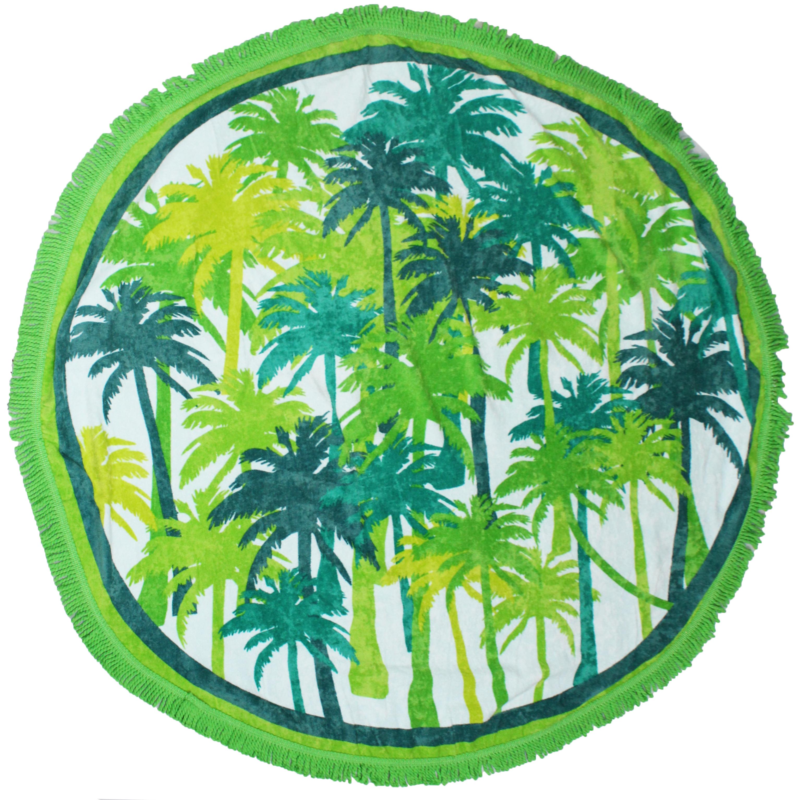 Serviette de plage éponge velours ronde vert palma 150