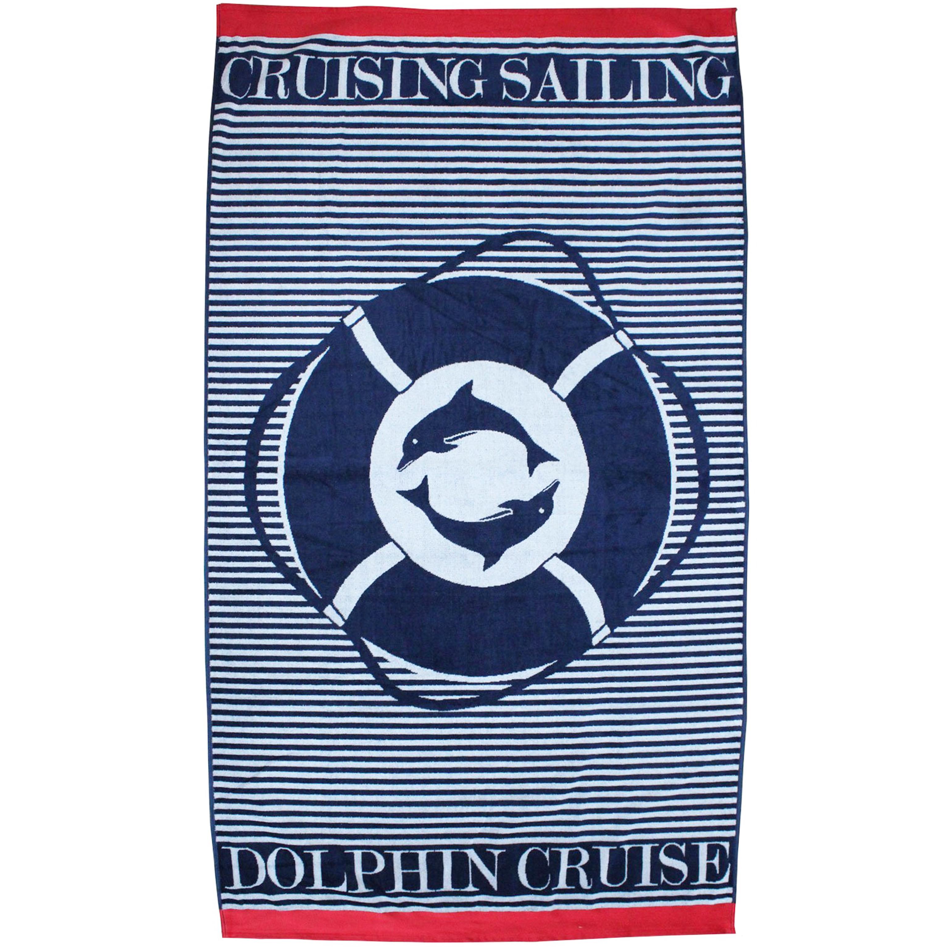 Serviette de plage éponge velours bleu  Marine gladstone 100 x 175