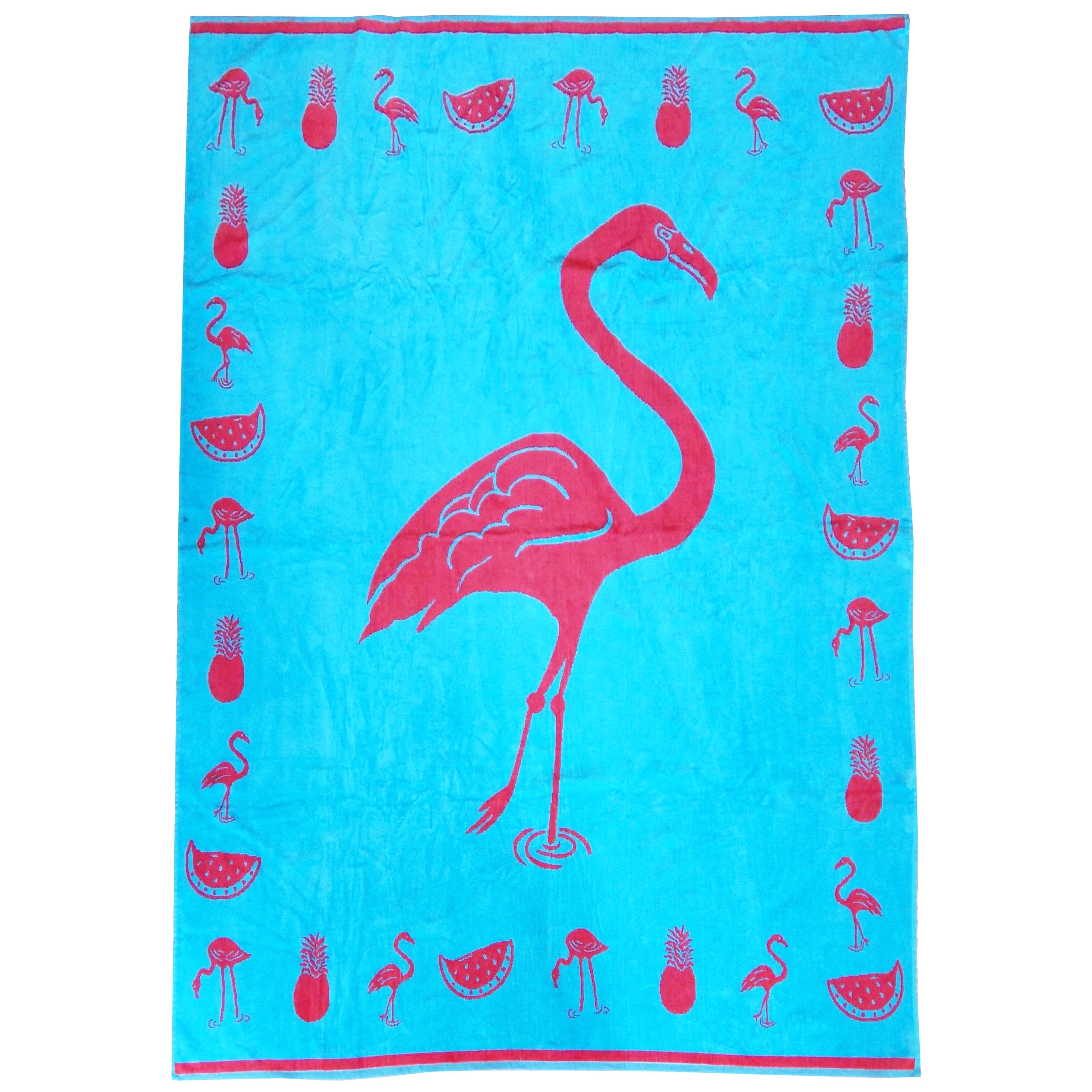 Serviette de plage éponge velours bleu turquoise ptaki 140 x 180