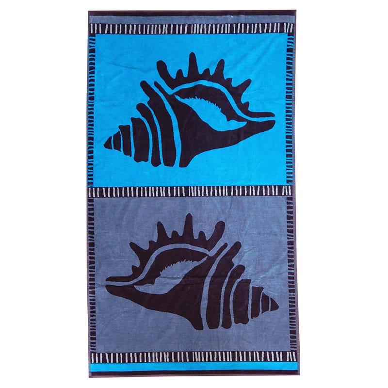 Serviette de plage éponge velours bleu malua 95 x 175