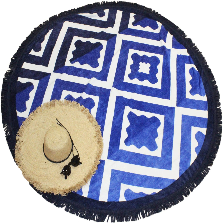 Serviette de plage éponge velours ronde bleue Seramiko 150