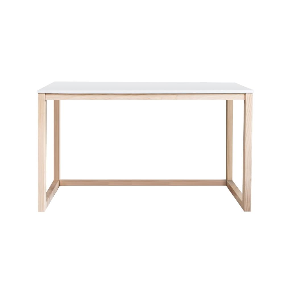 Bureau blanc pieds en bois de pin 100 cm