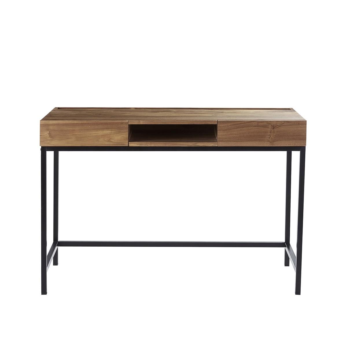 Bureau 2 tiroirs et 1 niche en bois et métal