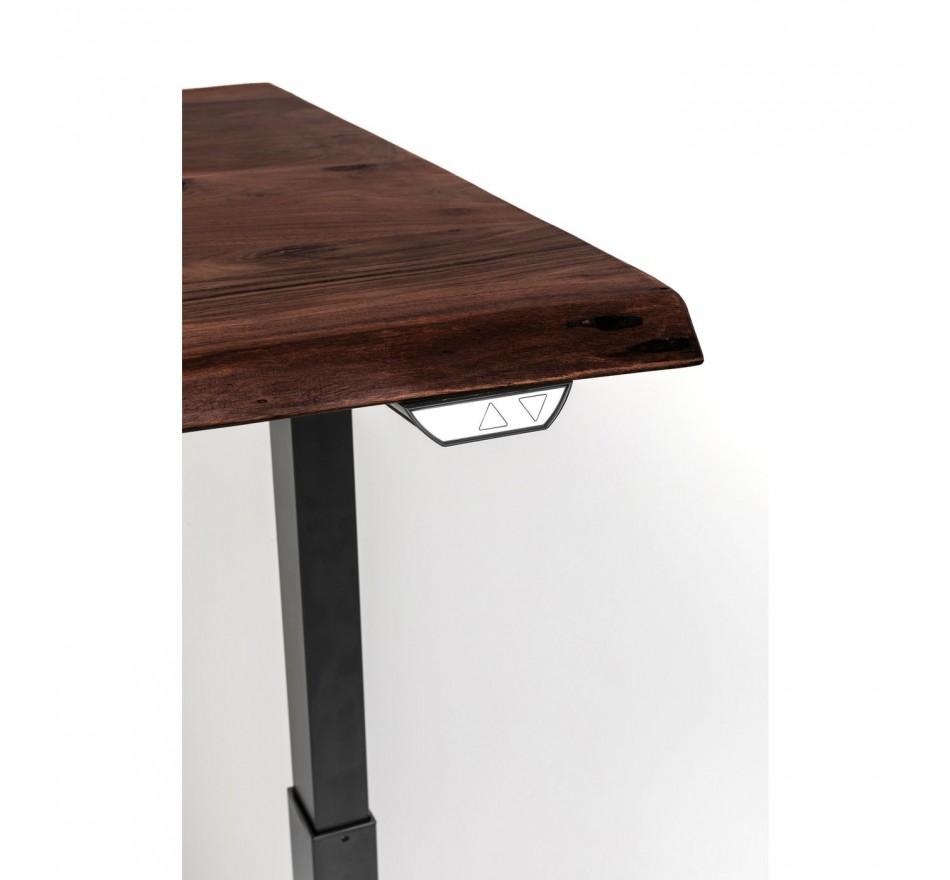 Bureau réglable assis-debout acacia brut et acier noir L160