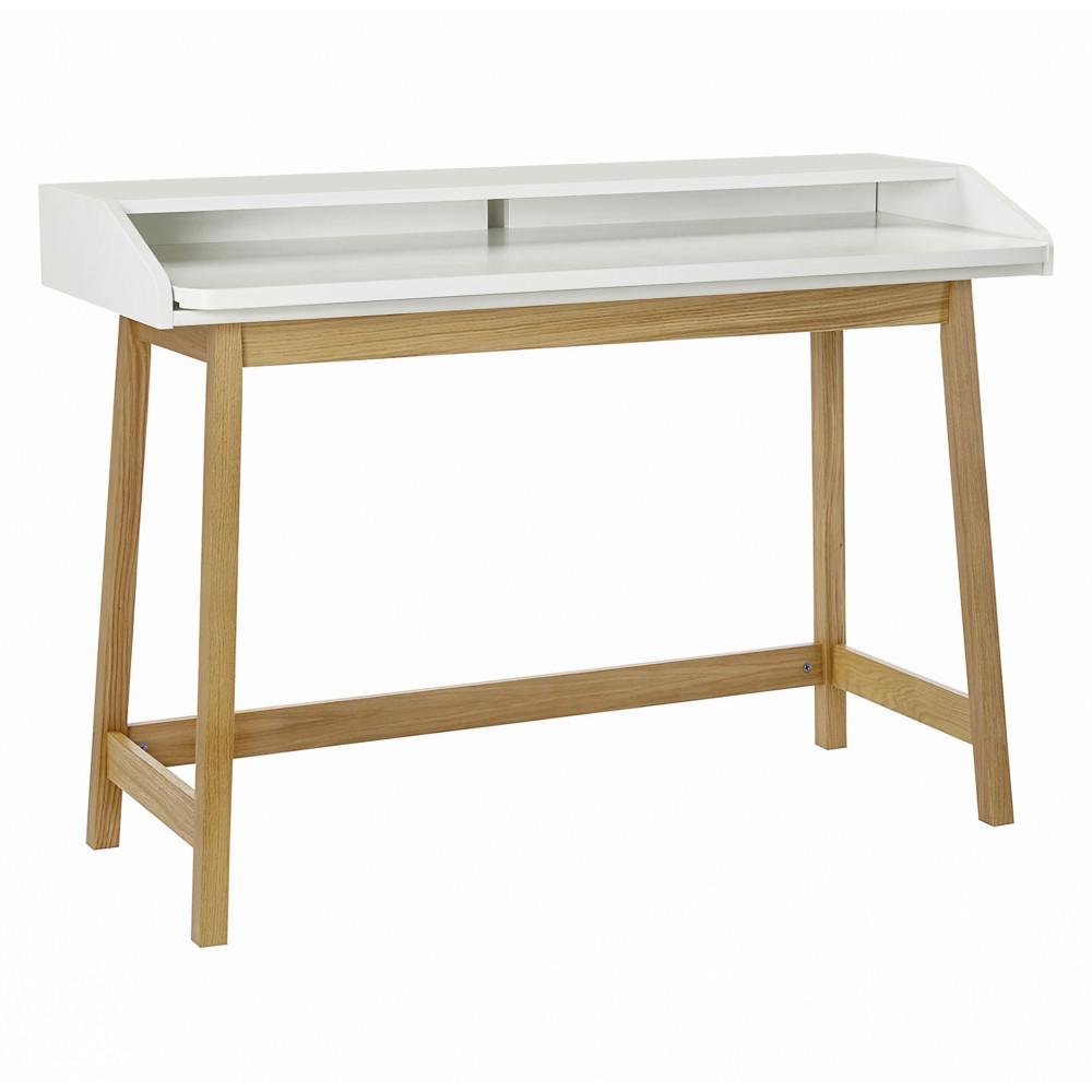 Bureau design compact blanc  et  chêne