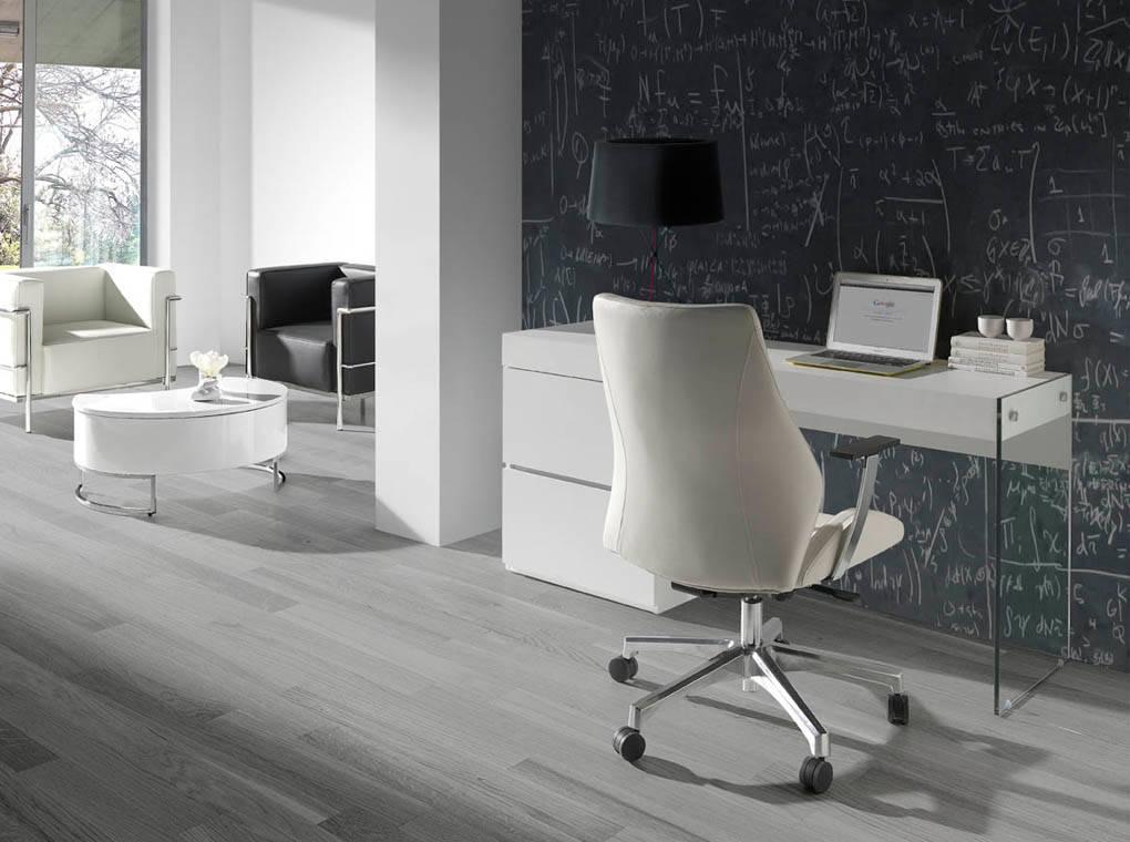 Bureau laqué blanc et verre L160 avec tiroirs
