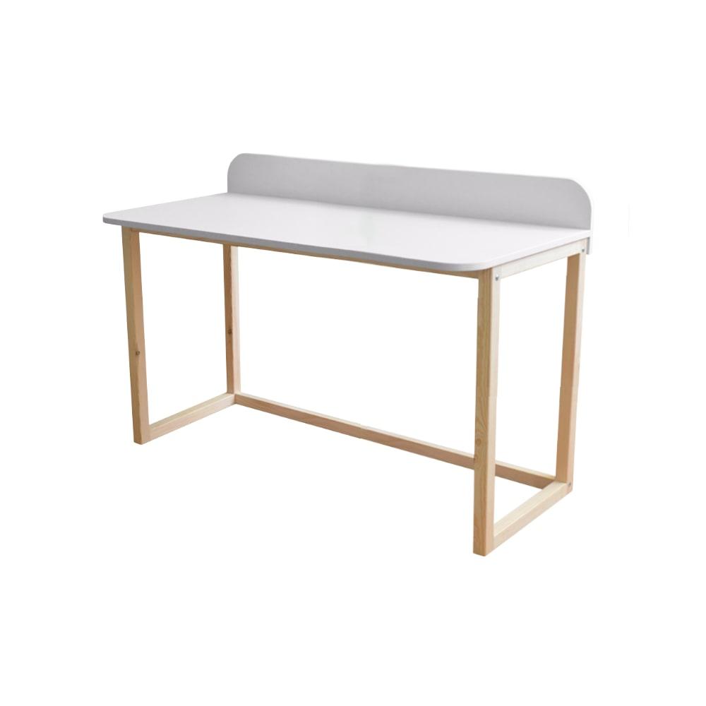 Bureau avec rebord blanc pieds en bois de pin 120 cm