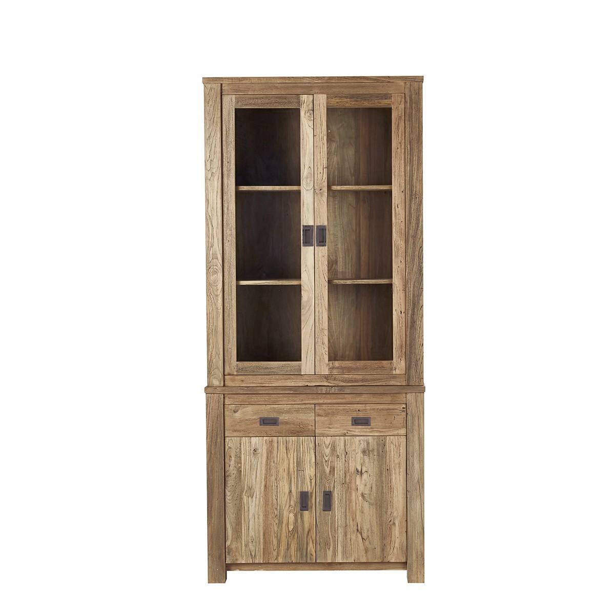 Vaisselier en bois de teck recyclé 4 portes 2 tiroirs