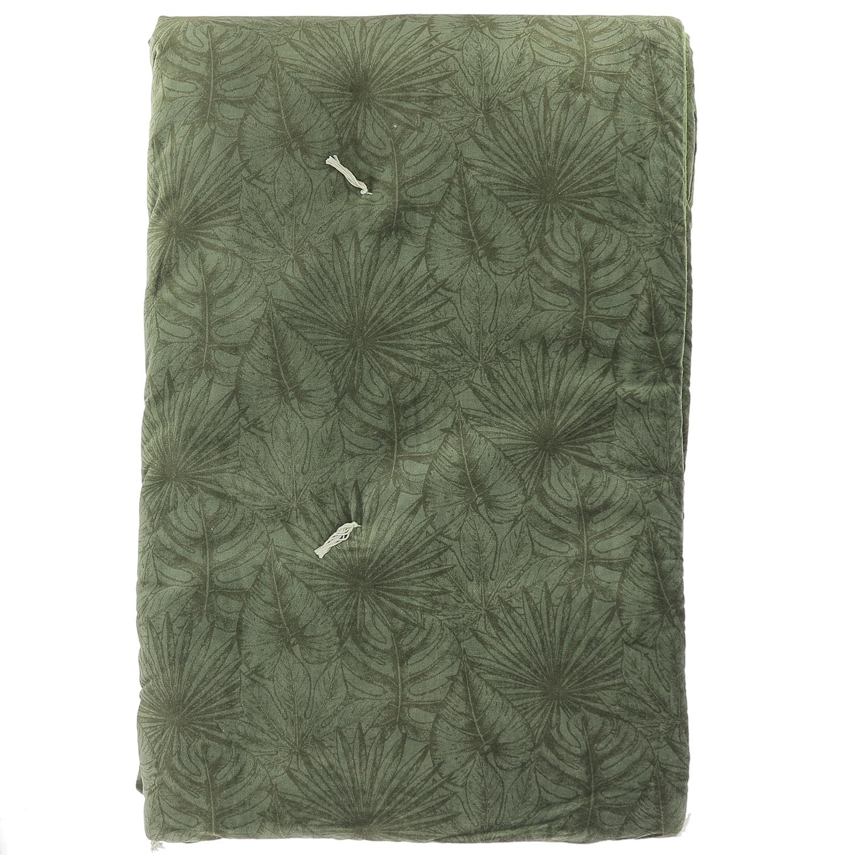 Edredon matelassé en velours de coton 90x200 cm olive