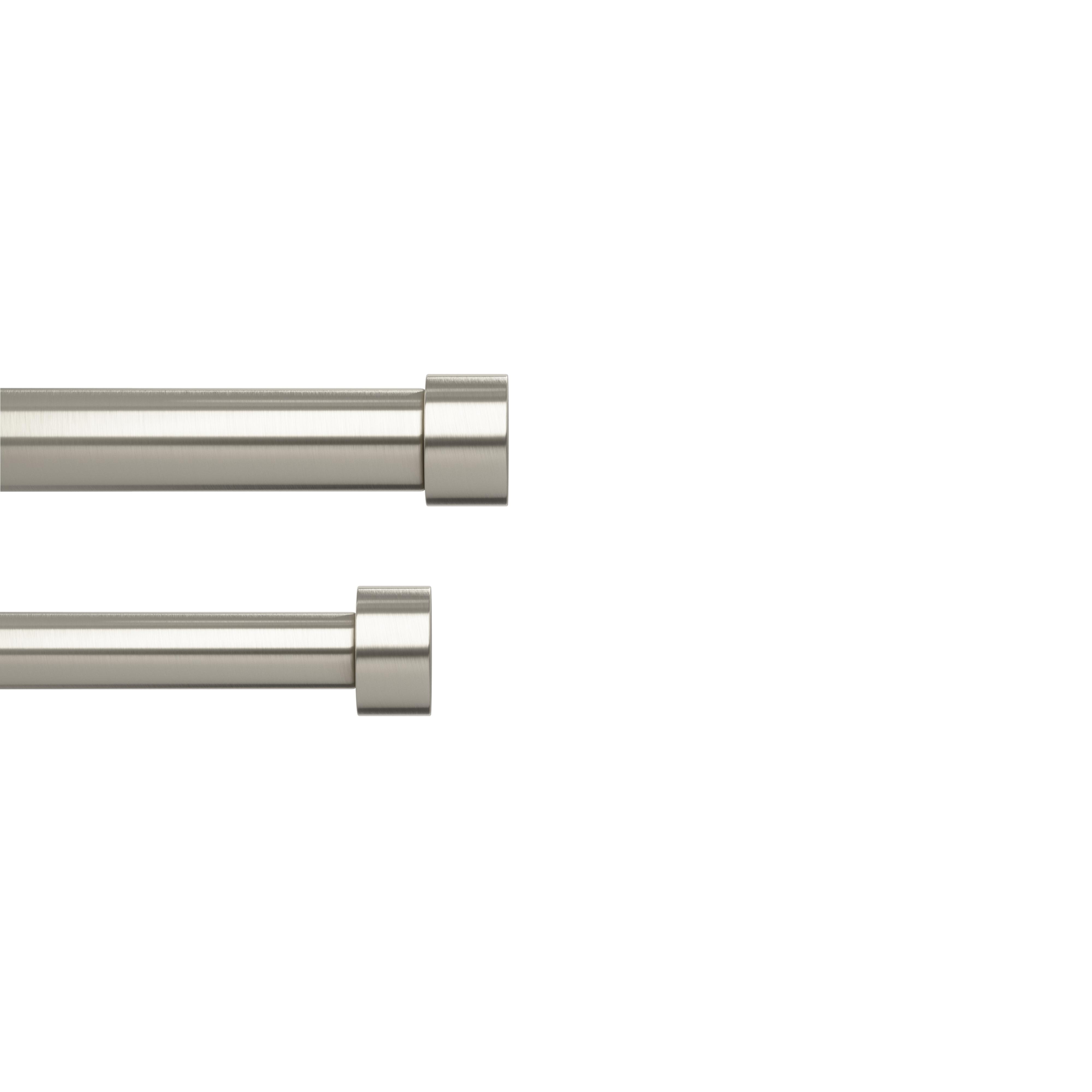 Double tringle à rideau fixations ext.167 à 305cm nickel D25mm