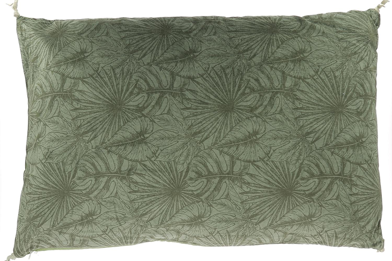 Grand coussin en velours de coton imprimé 50x100 cm olive