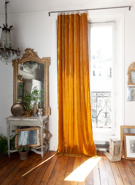 Rideau en velours de soie doublé 110x300 cm tabac