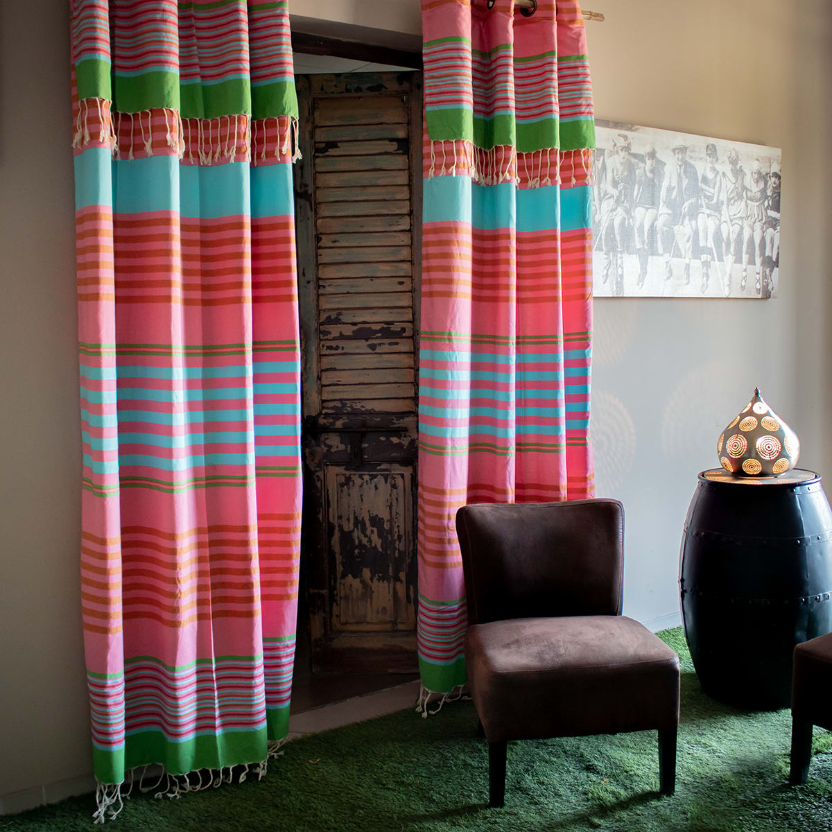 Rideau ajustable coton rose rayures multico 140 x 210 à 240