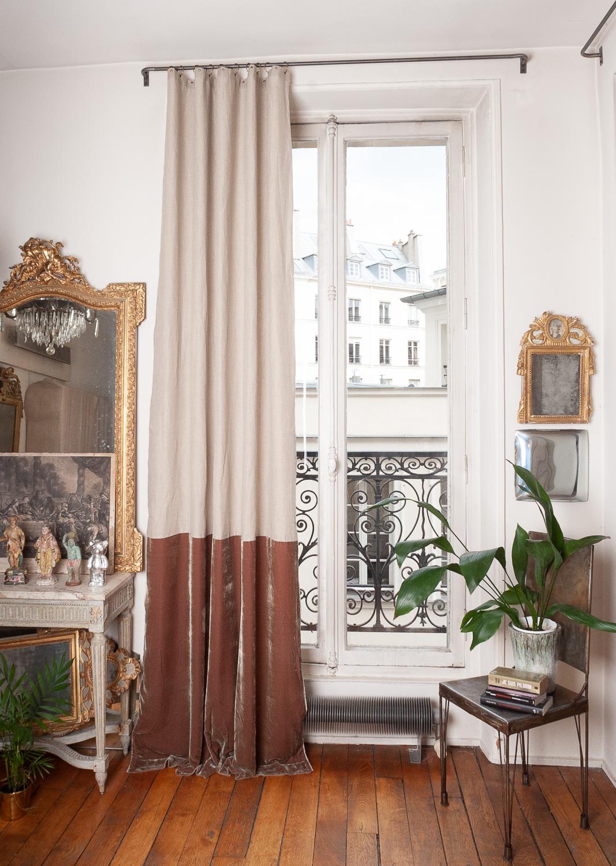 Rideau en velours de soie et lin 140x300 cm taupe