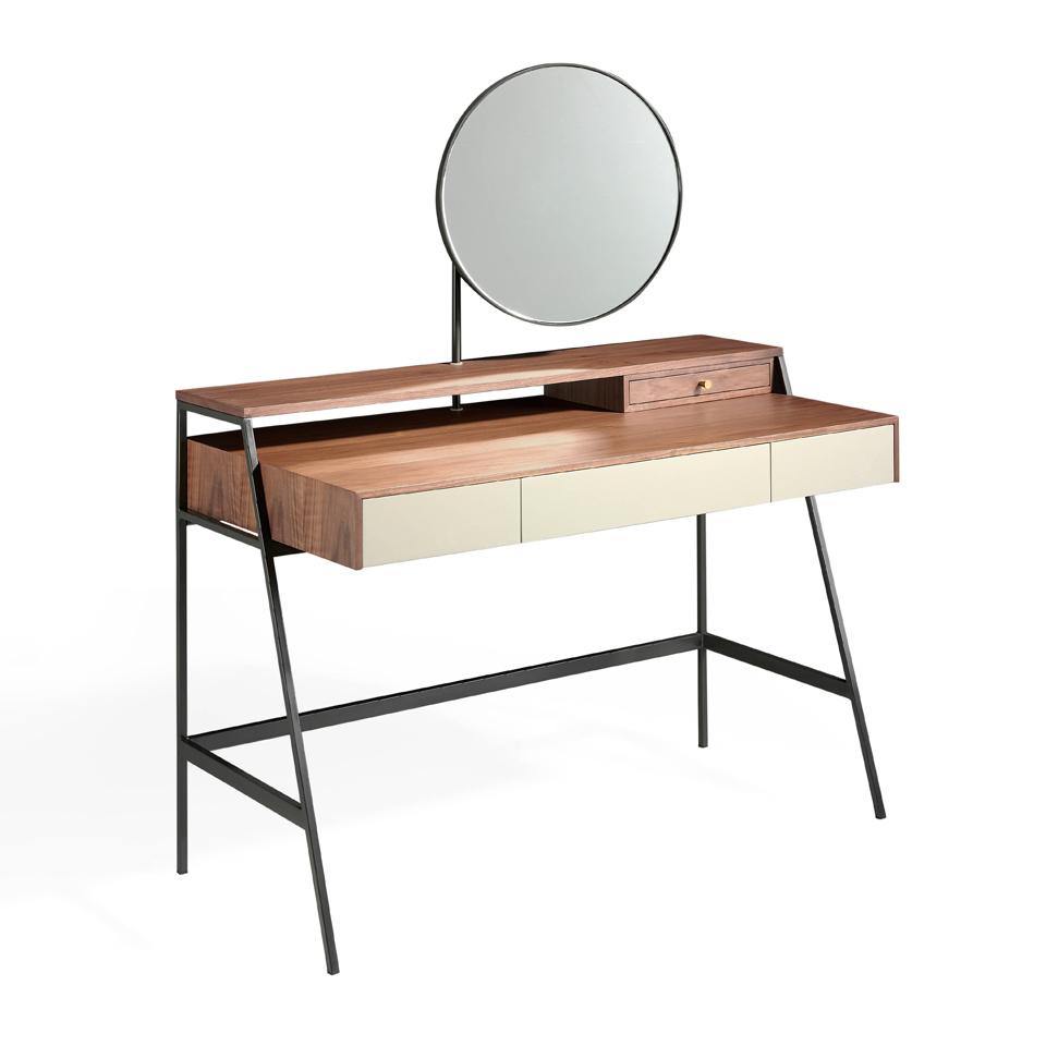 Coiffeuse placage noyer L120 avec miroirs et tiroirs