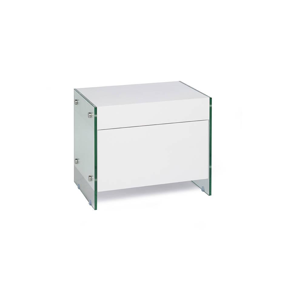 Table de chevet laquée blanche et verre