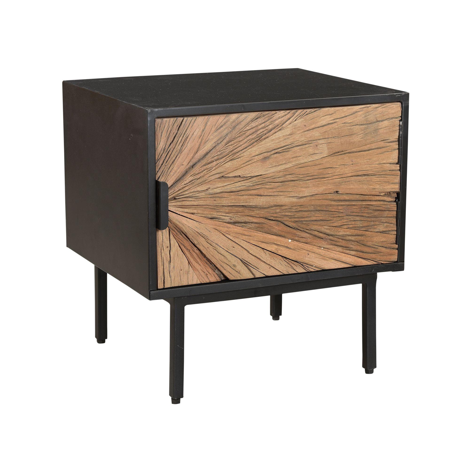 Table de chevet en métal noir et porte en teck recyclé