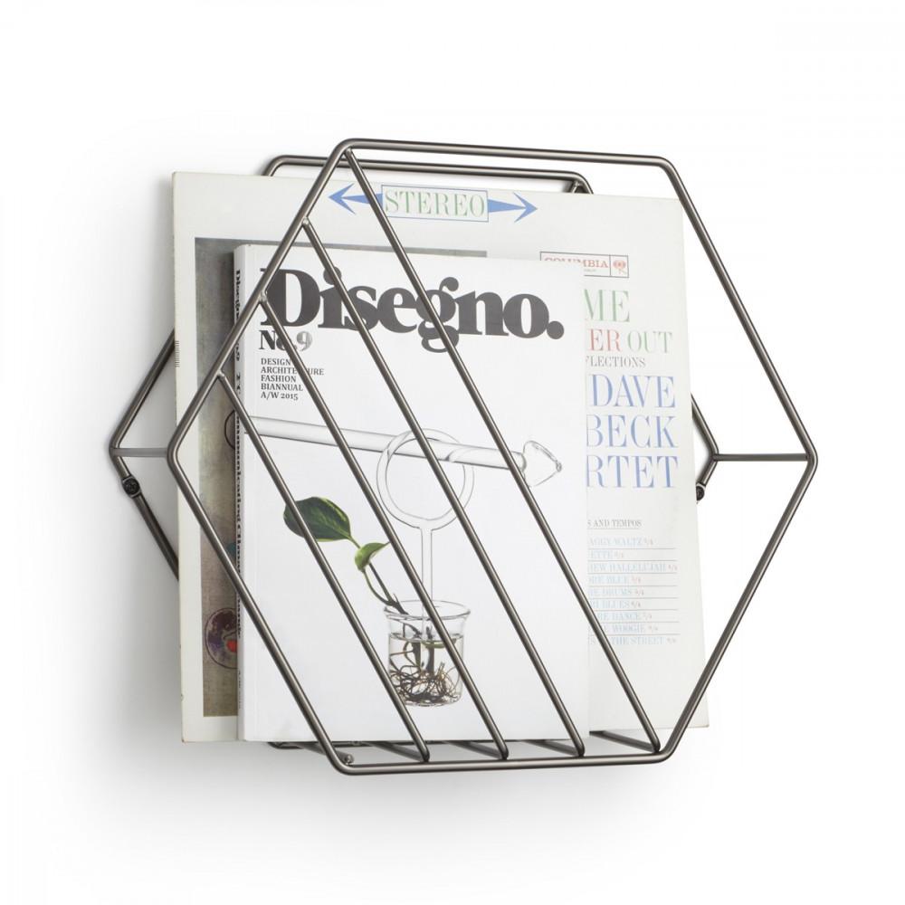 Porte-revues à poser ou à fixer au mur, en métal, titanium