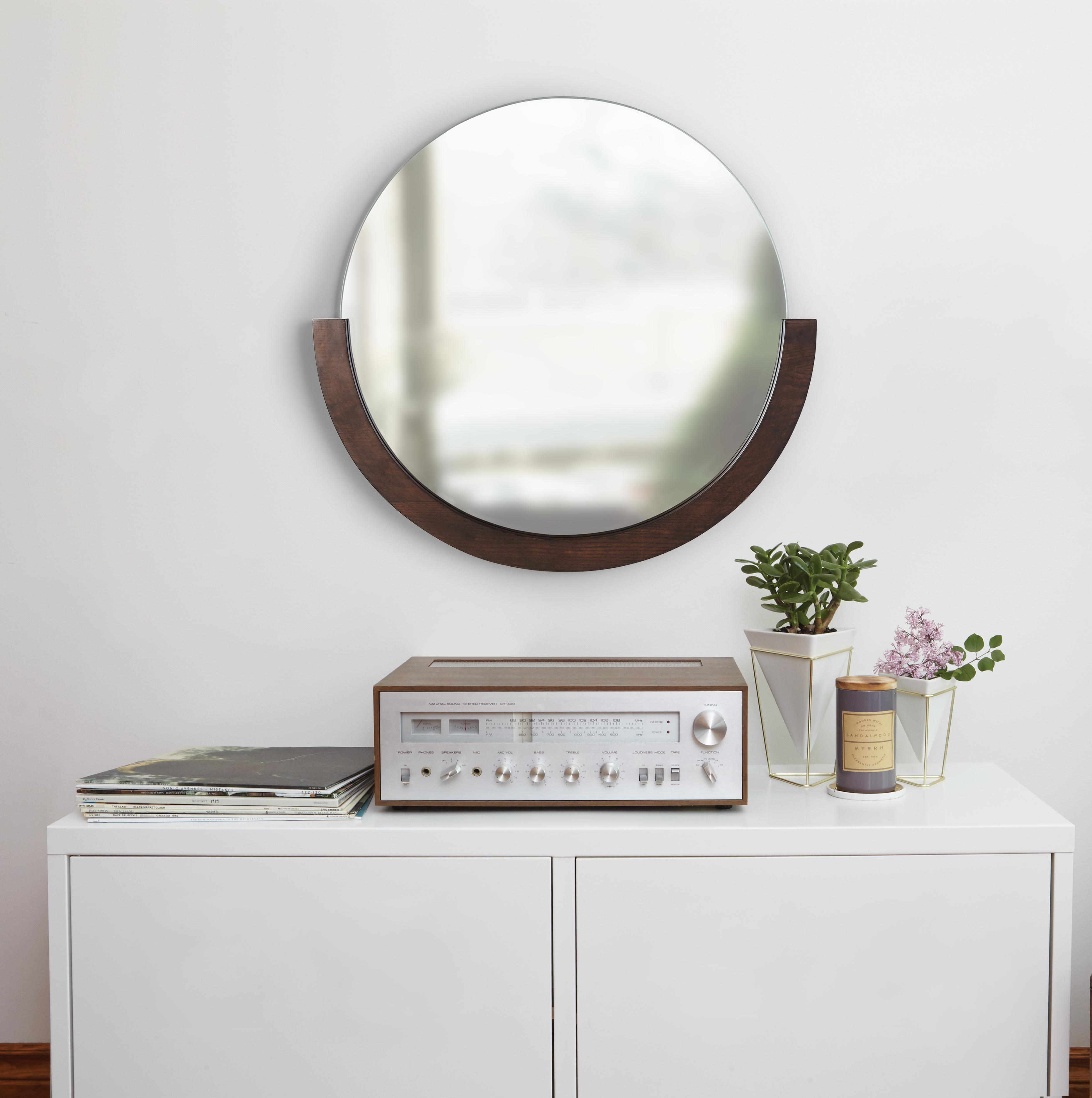 Miroir rond bois coloris noyer D 82cm