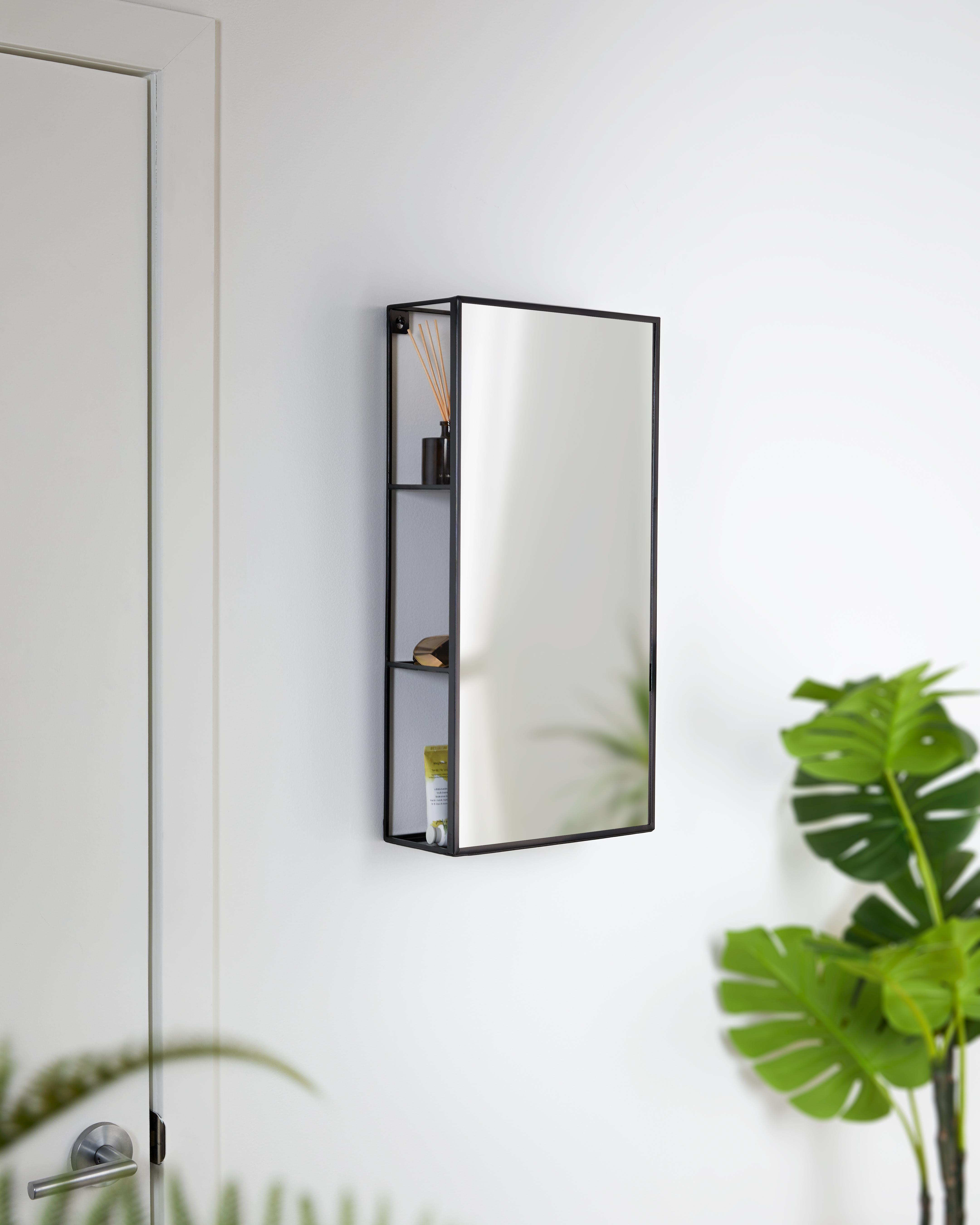 Miroir et étagère de rangement en métal, 61x30x13cm noir