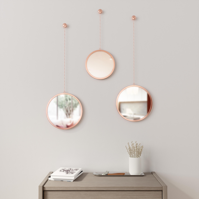 Lot de 3 miroirs ronds, suspendus, cuivre