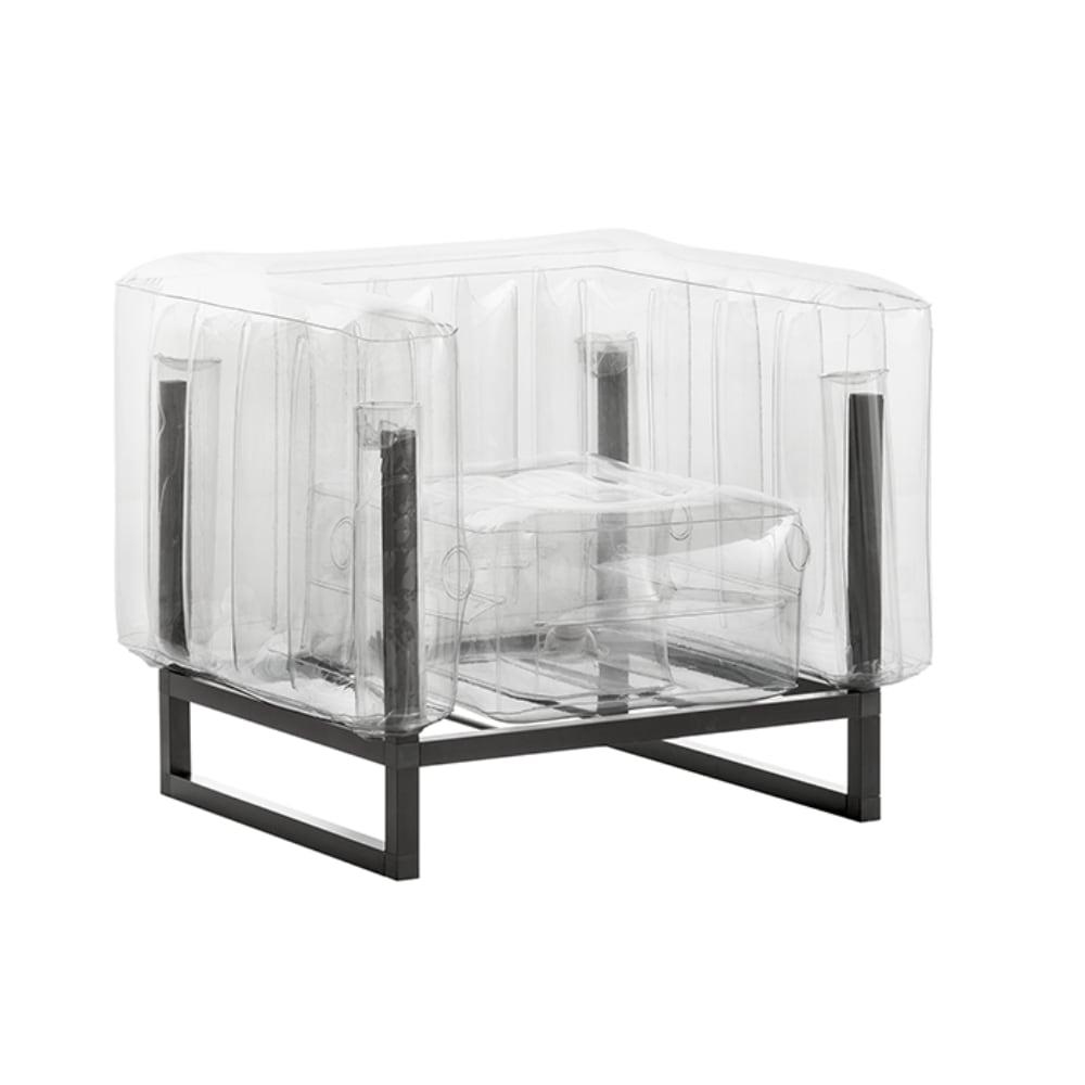 Fauteuil tpu transparent cadre en aluminium