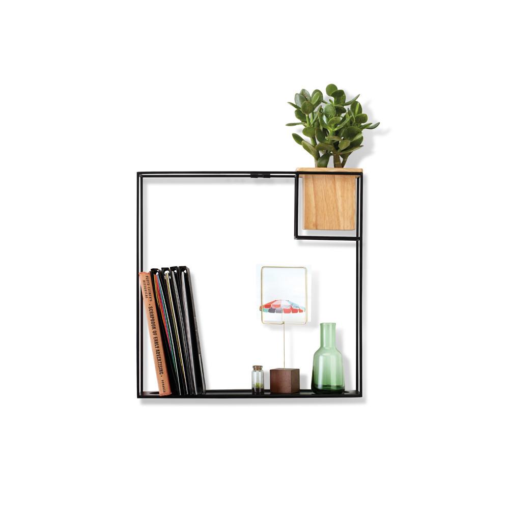 Etagère cadre carrée, cache pot integré, métal noir et bois