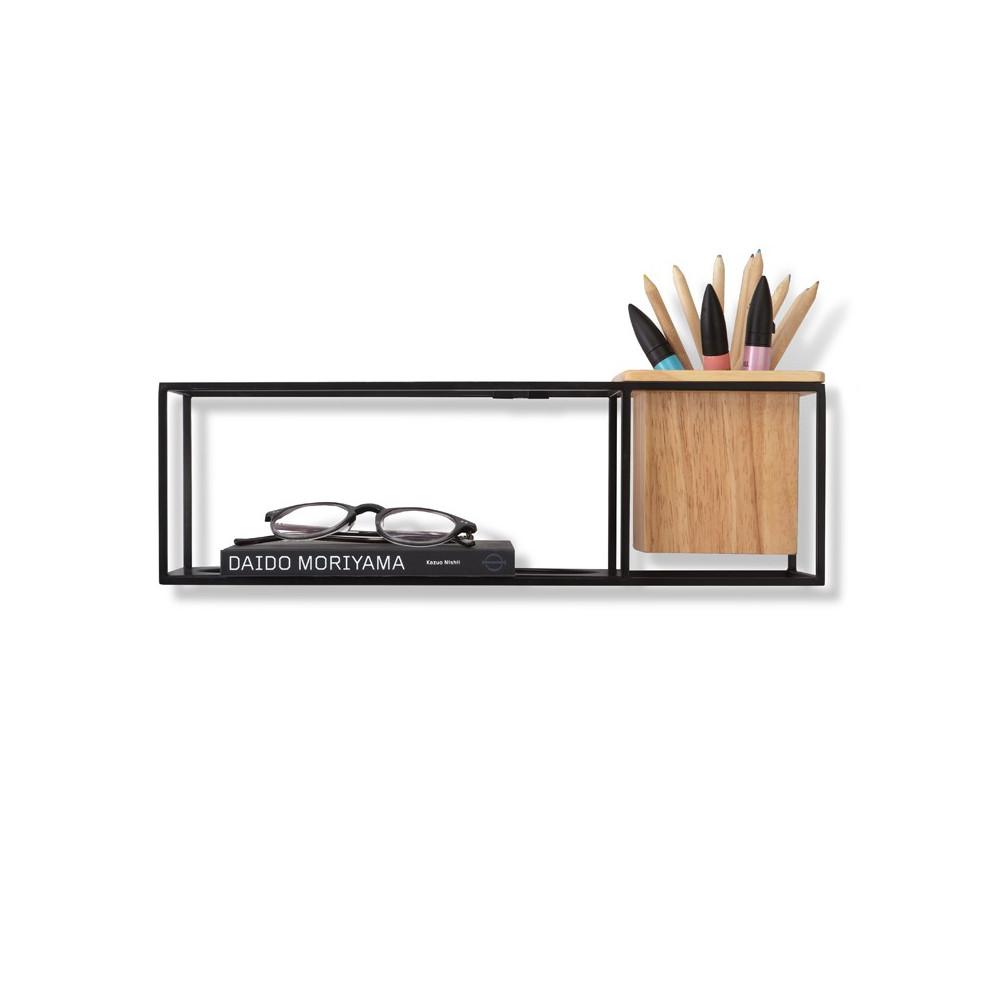 Etagère rectangle, avec cache-pot integré, métal noir et bois