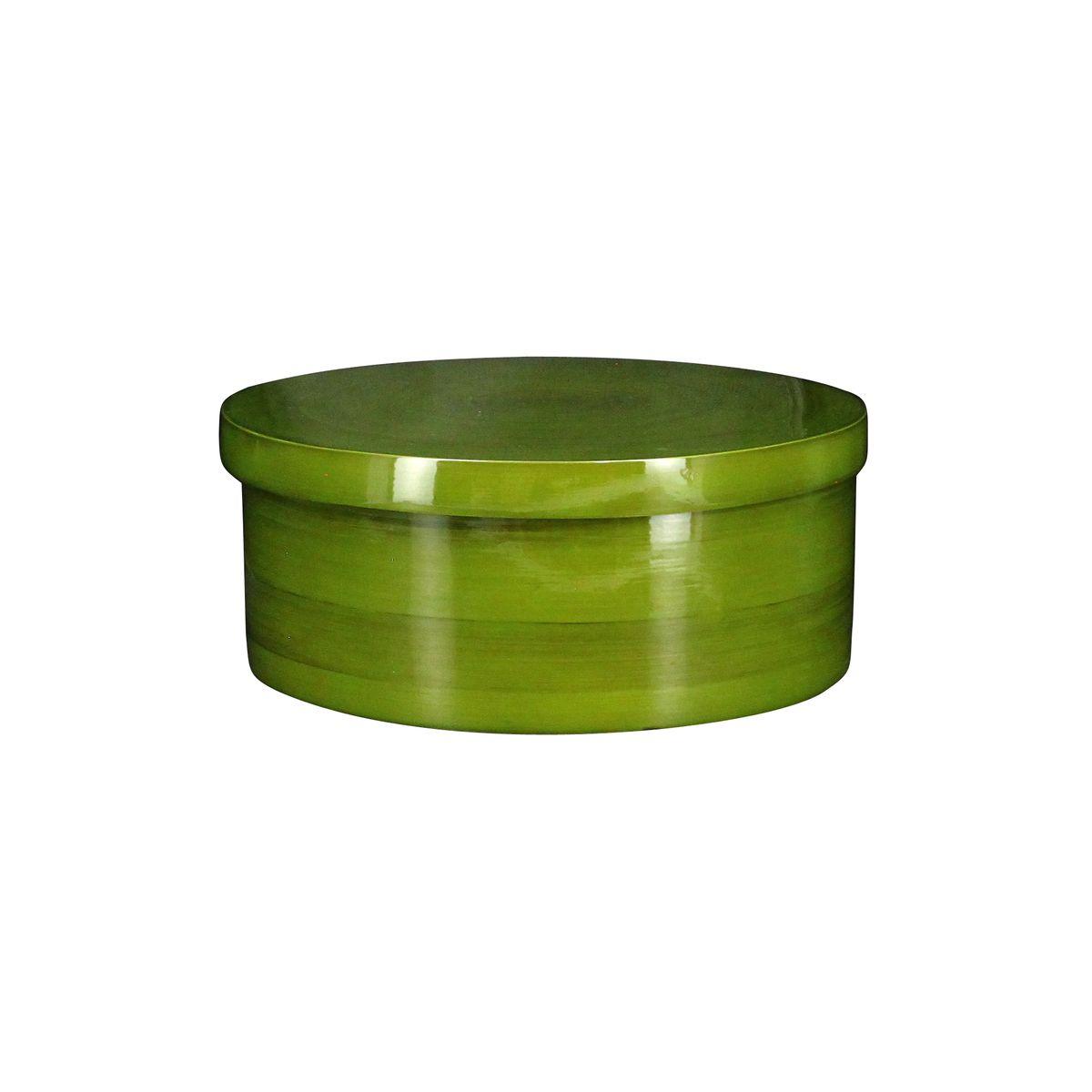 Boîte ronde en bambou vert olive 25x25cm