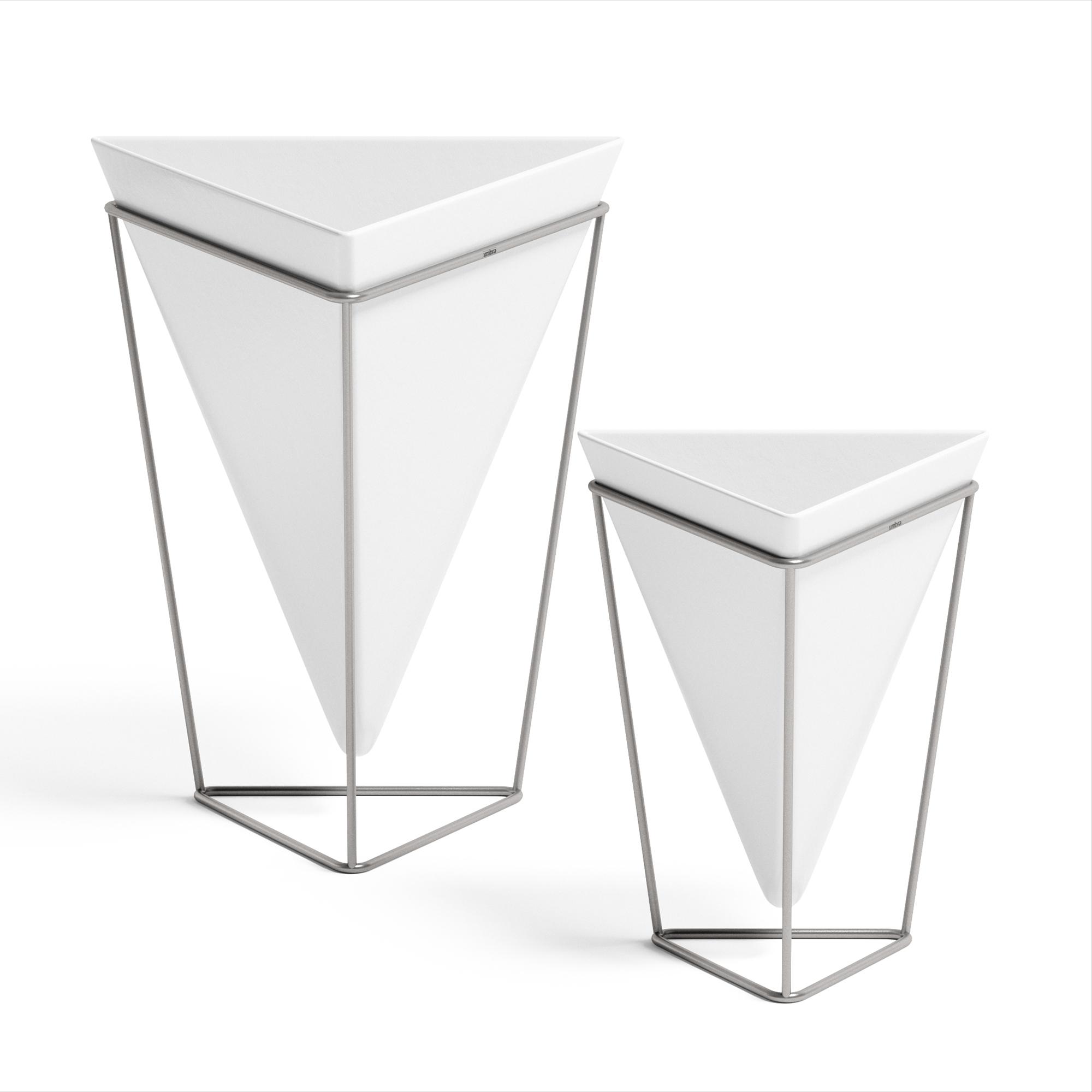 lot 2 pots de fleurs ass. à poser, céramique blanc et nickel