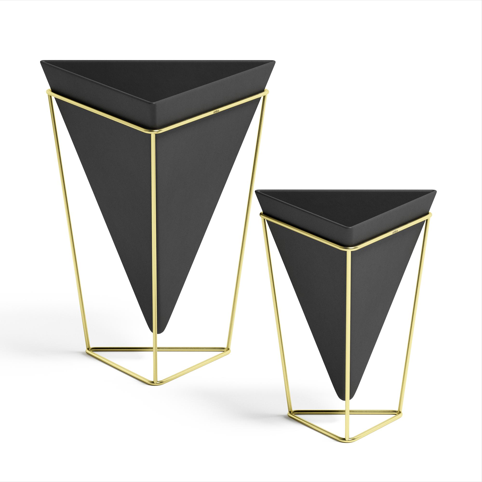 lot de 2 pots de fleurs ass. à poser, céramique noir et doré