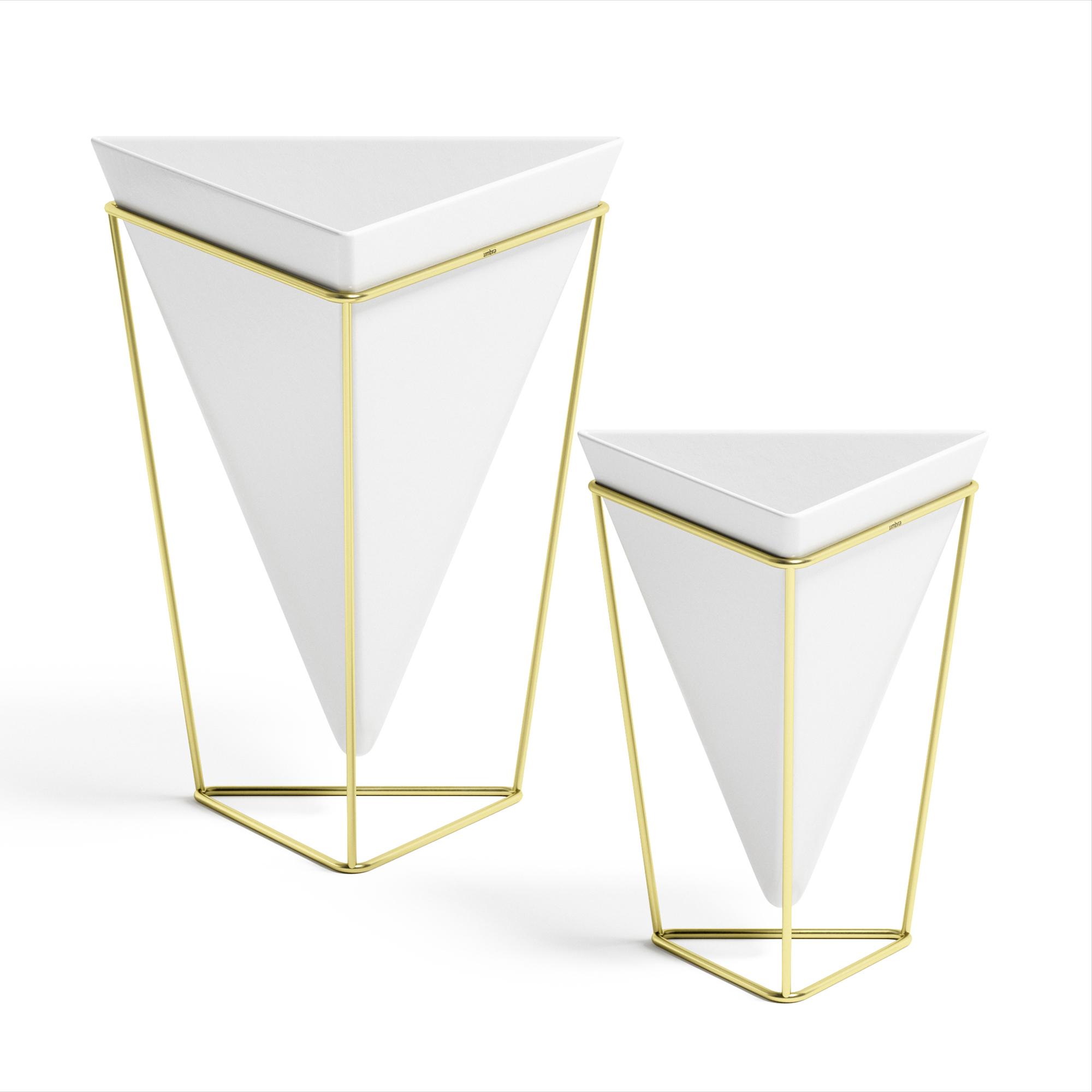 lot de 2 pots de fleurs ass. à poser, céramique blanc et doré