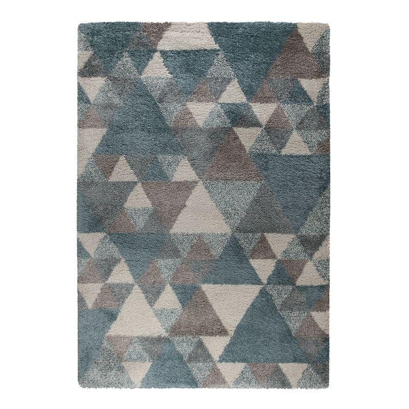 Tapis géométrique scandinave en polypropylène bleu 80x150