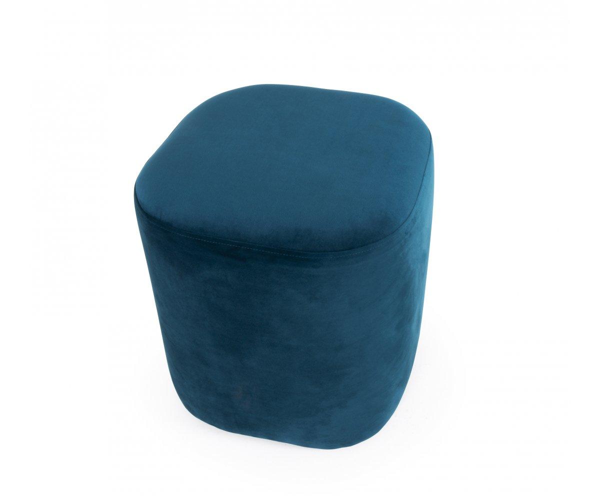 Pouf design en velours Bleu