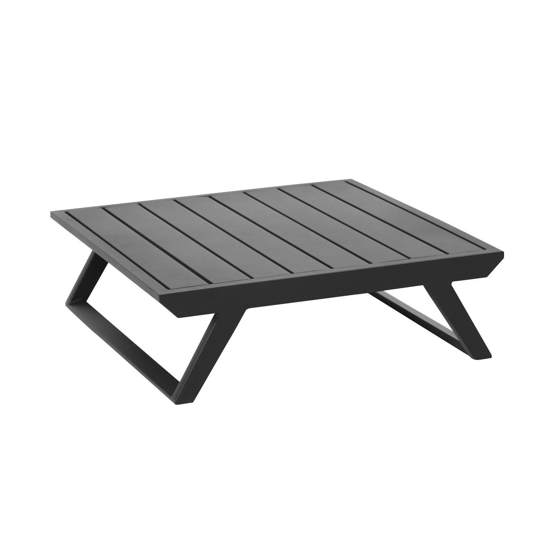 Table basse de jardin carrée en aluminium noir D72