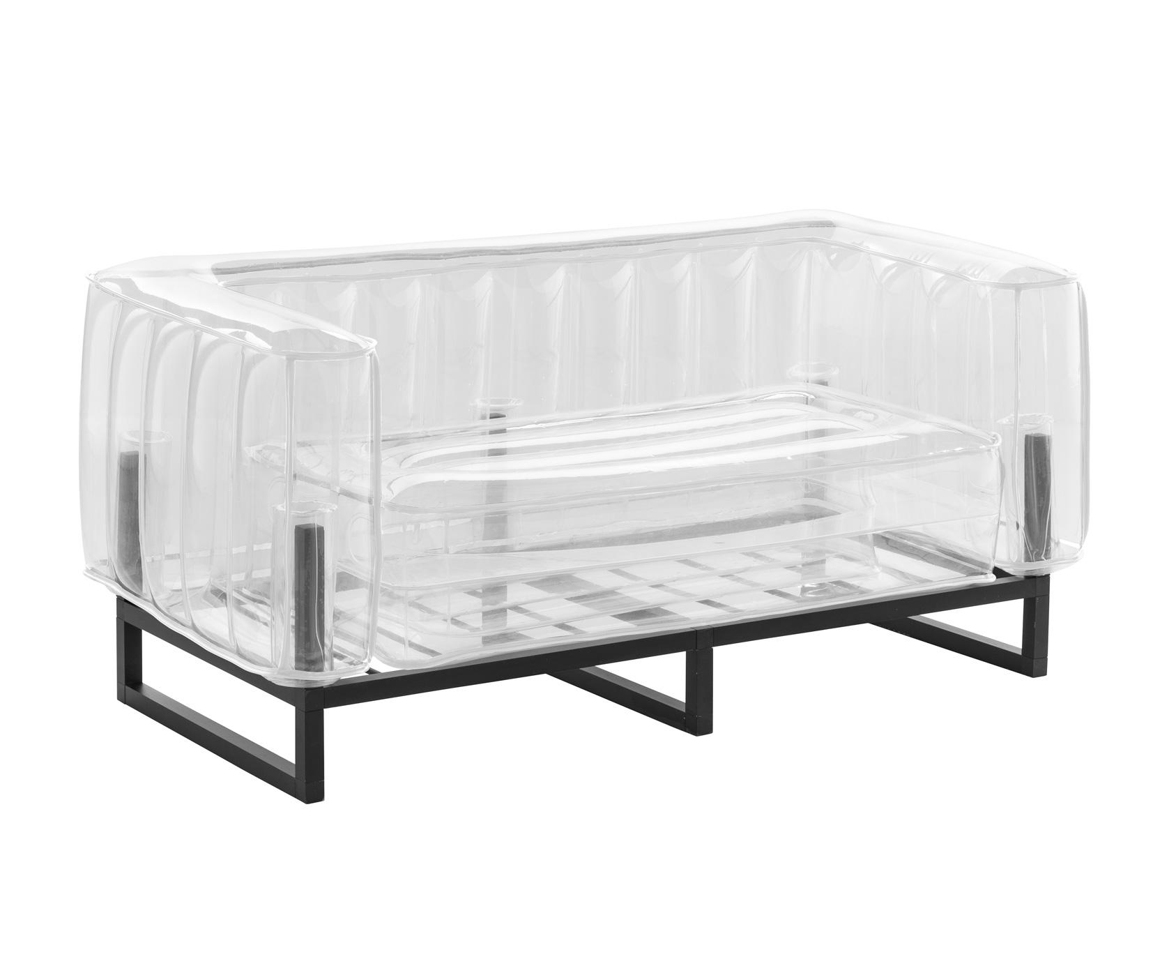 Canapé 2 places tpu transparent cadre en aluminium passepoil blanc