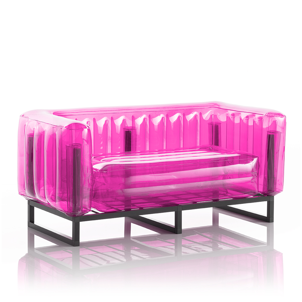 Canapé cadre aluminium assise thermoplastique rose crystal