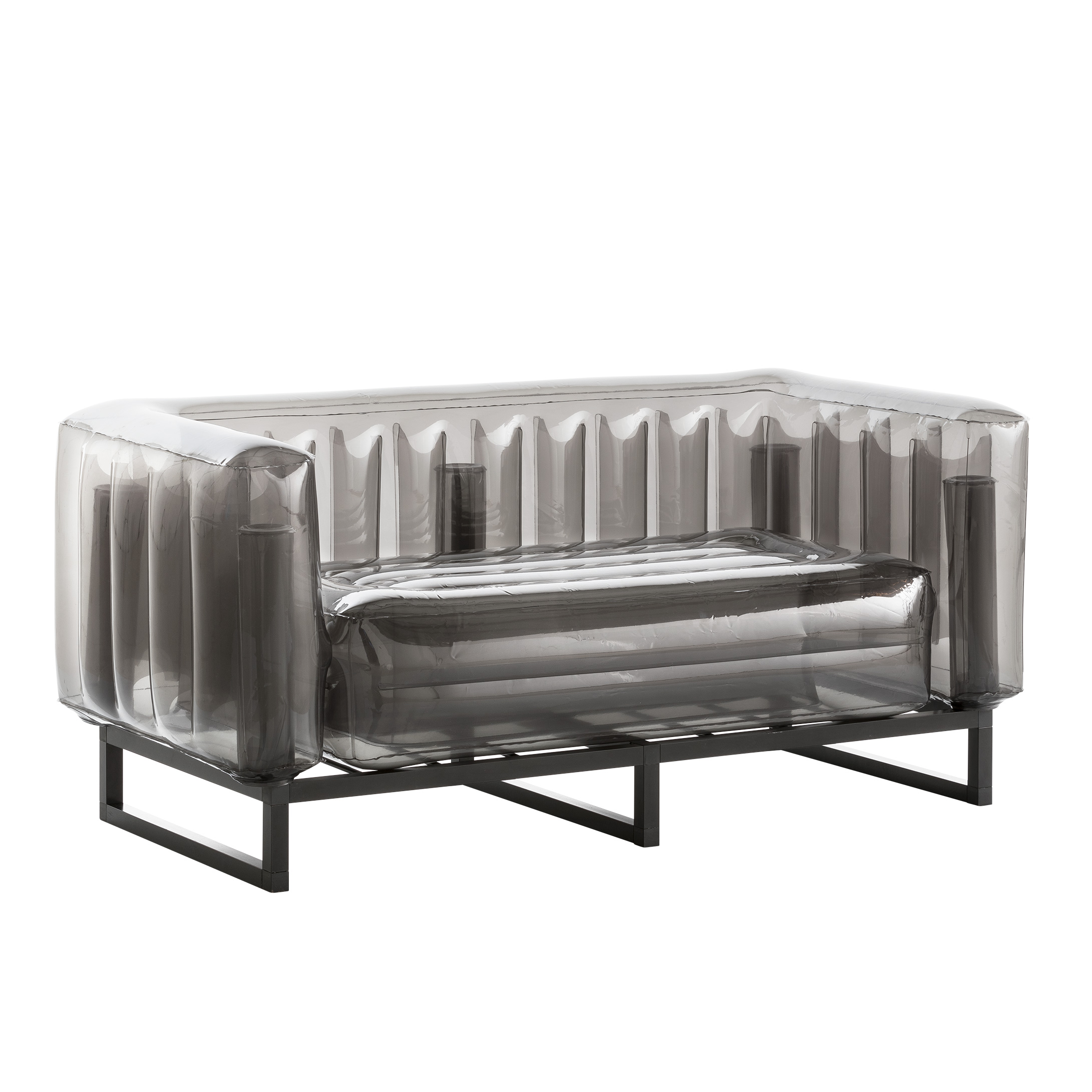 Canapé cadre aluminium assise thermoplastique noir crystal