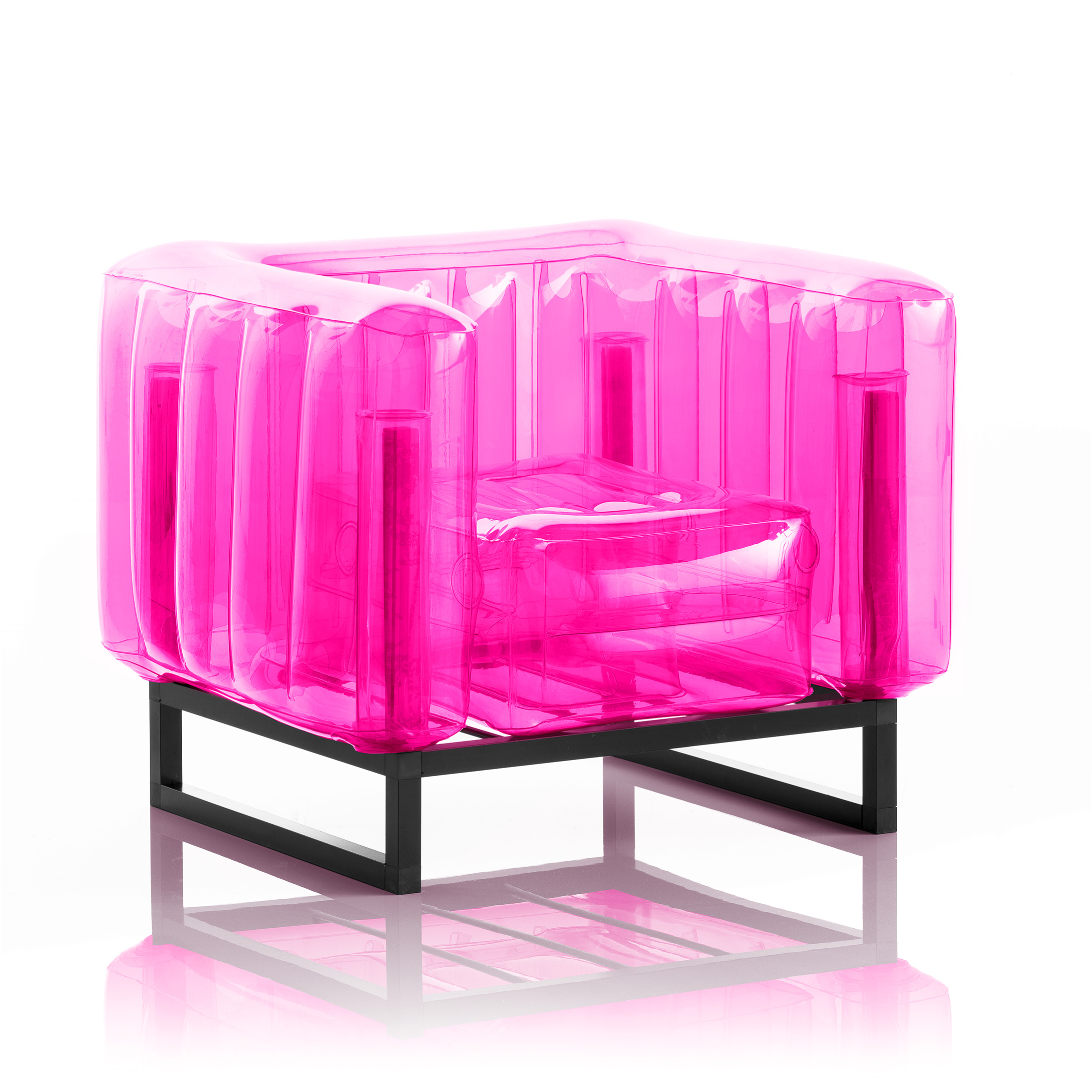 Canapé 2 places cadre bois assise thermoplastique rose crystal