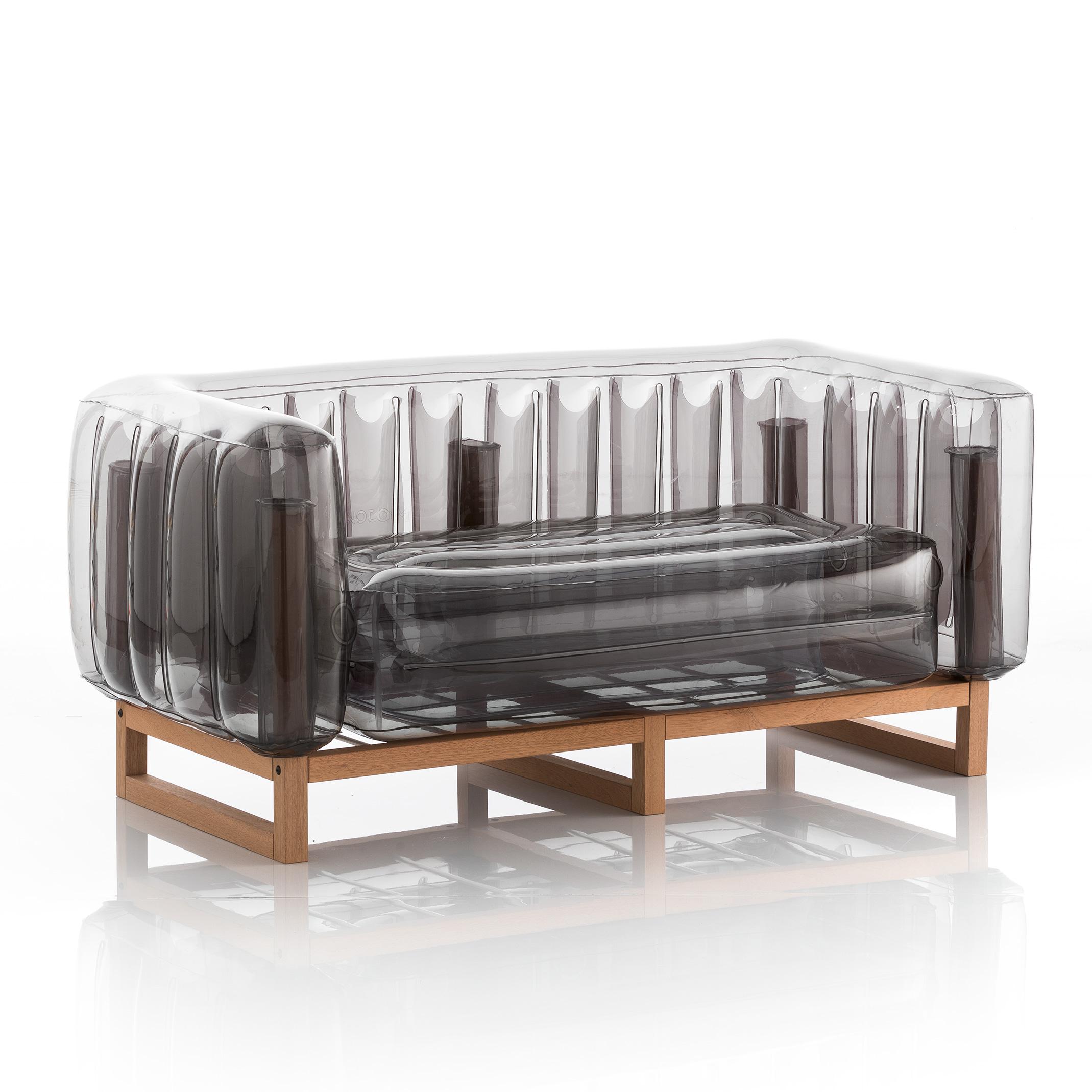 Canapé 2 places cadre bois assise thermoplastique noir crystal