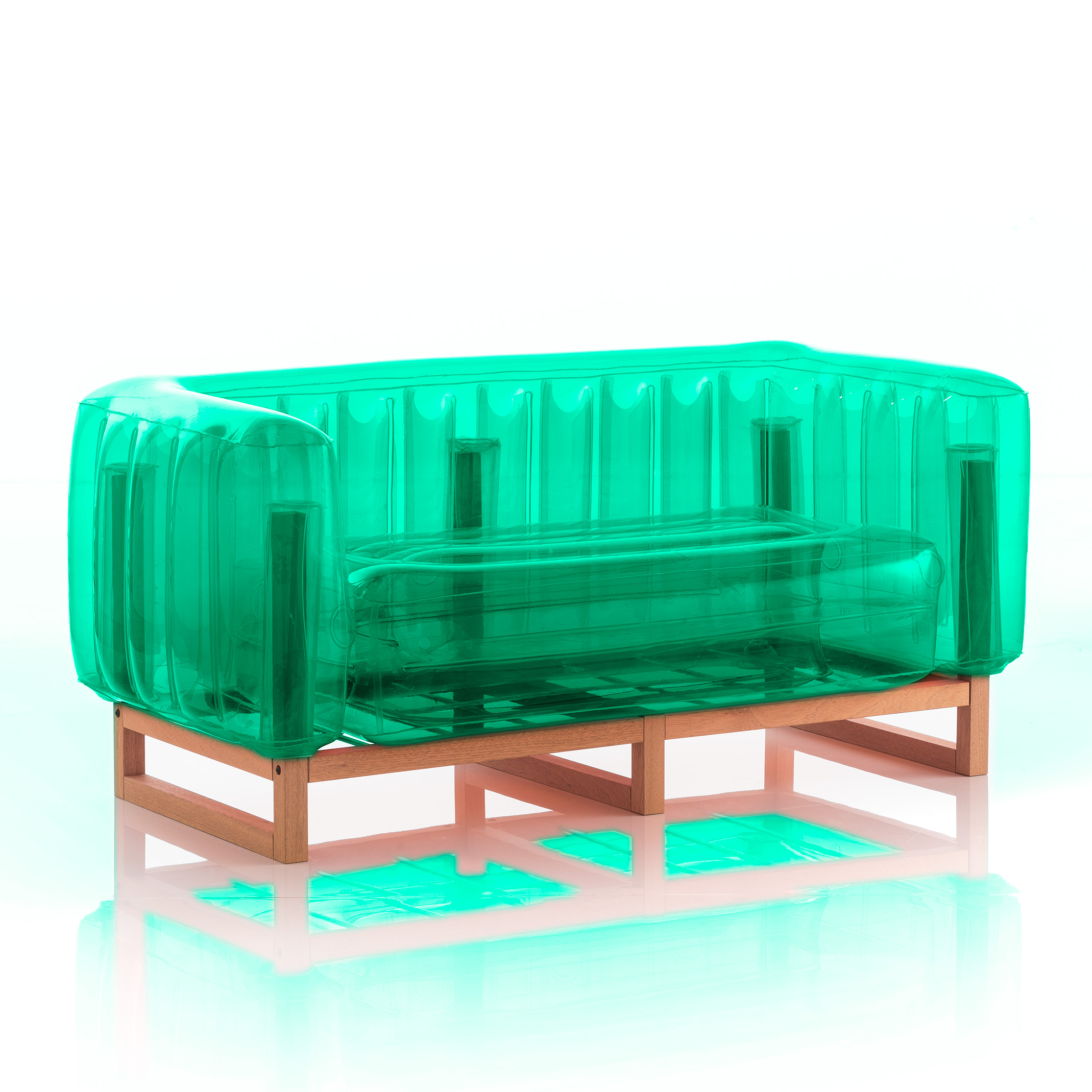 Canapé cadre bois assise thermoplastique vert crystal