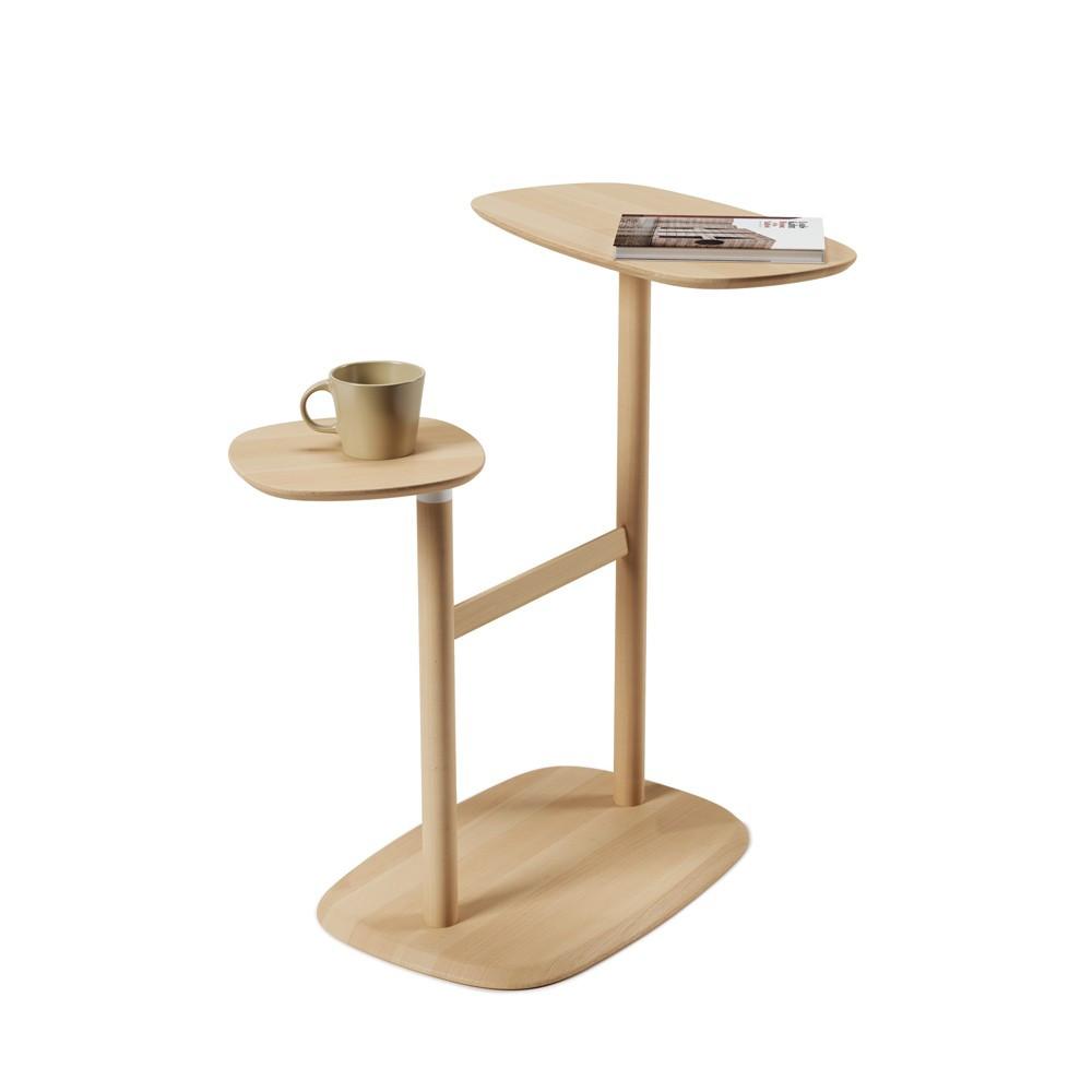 Table d'appoint double et pivotante, en bois naturel