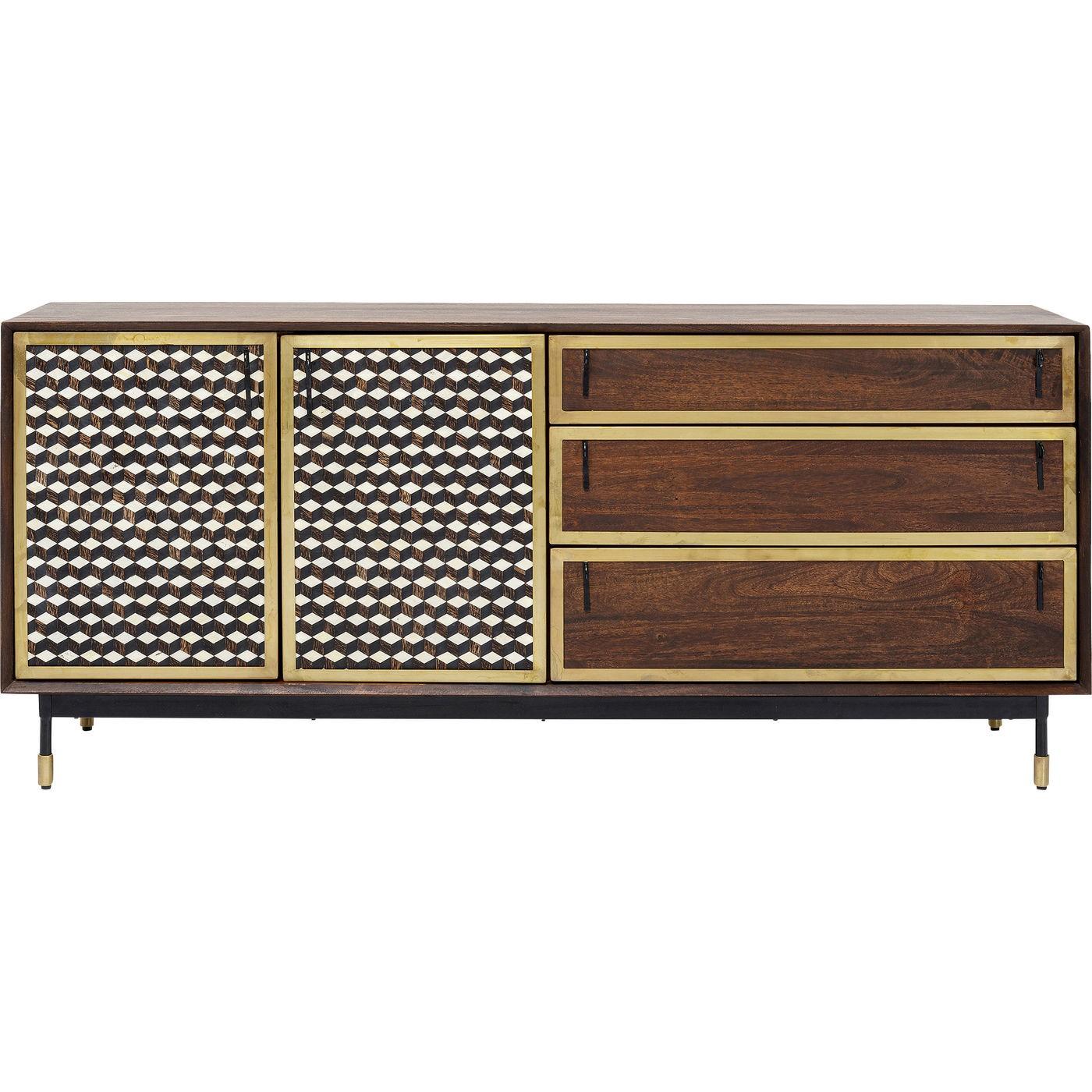 Buffet 2 portes 3 tiroirs en manguier motifs géométriques