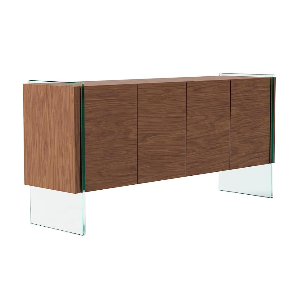 Buffet placage noyer et verre 4 portes avec étagères