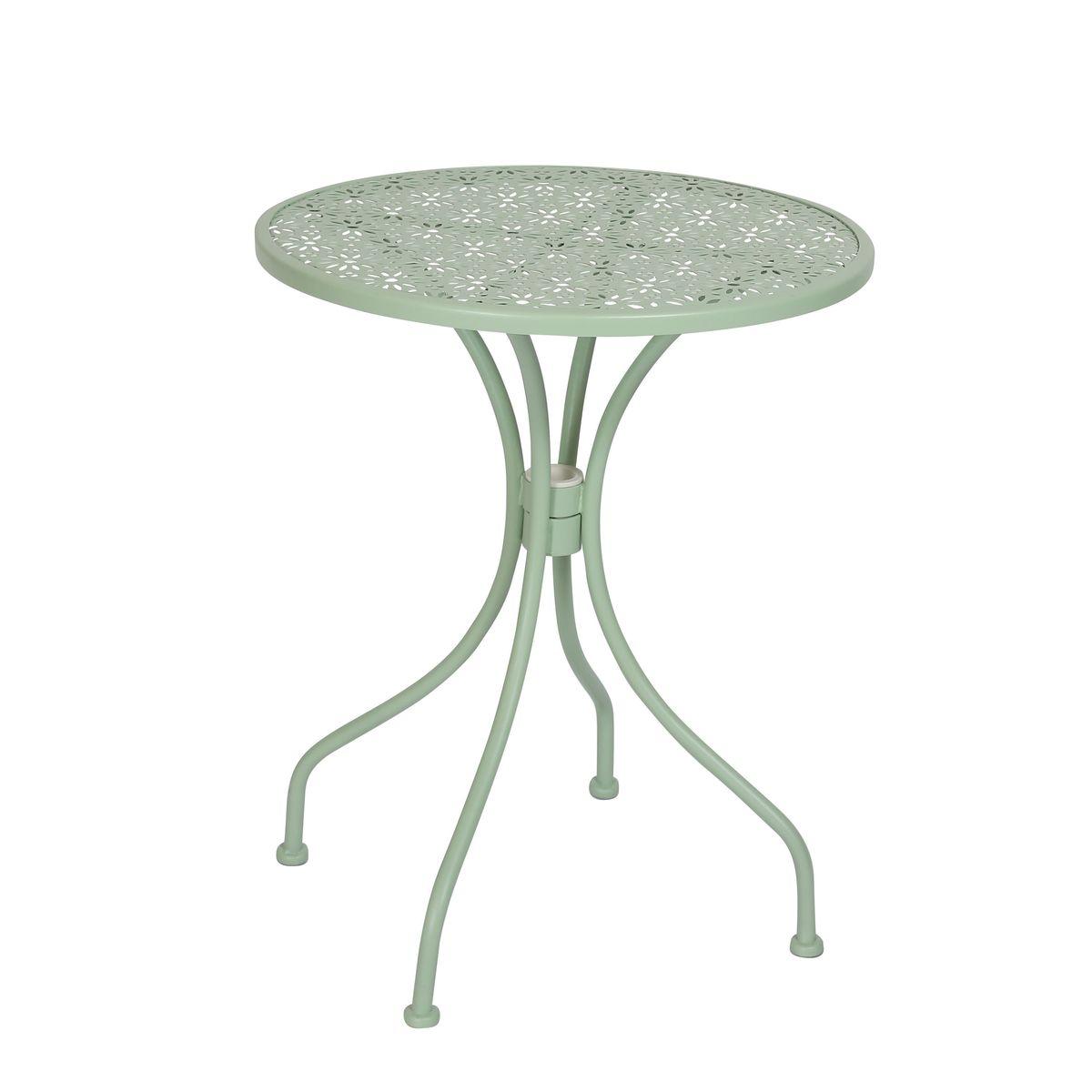 Table d'extérieur ronde en métal vert D60