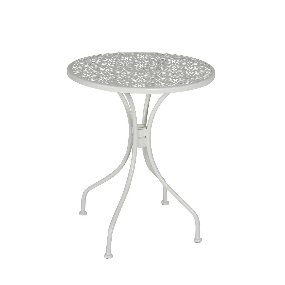 Table d'extérieur en métal blanc D60
