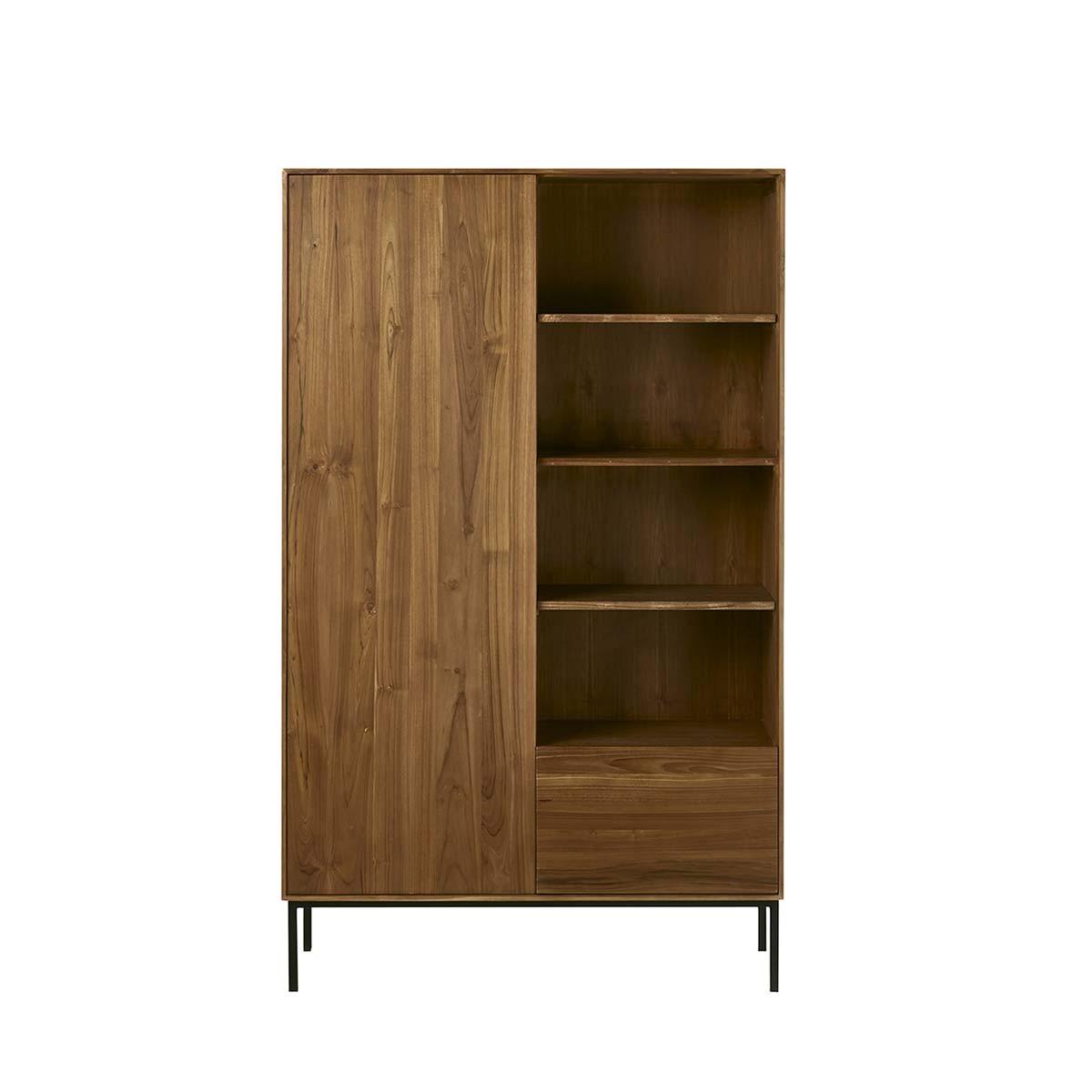 Armoire 1 porte 1 tiroir et 3 étagères en teck et métal (photo)