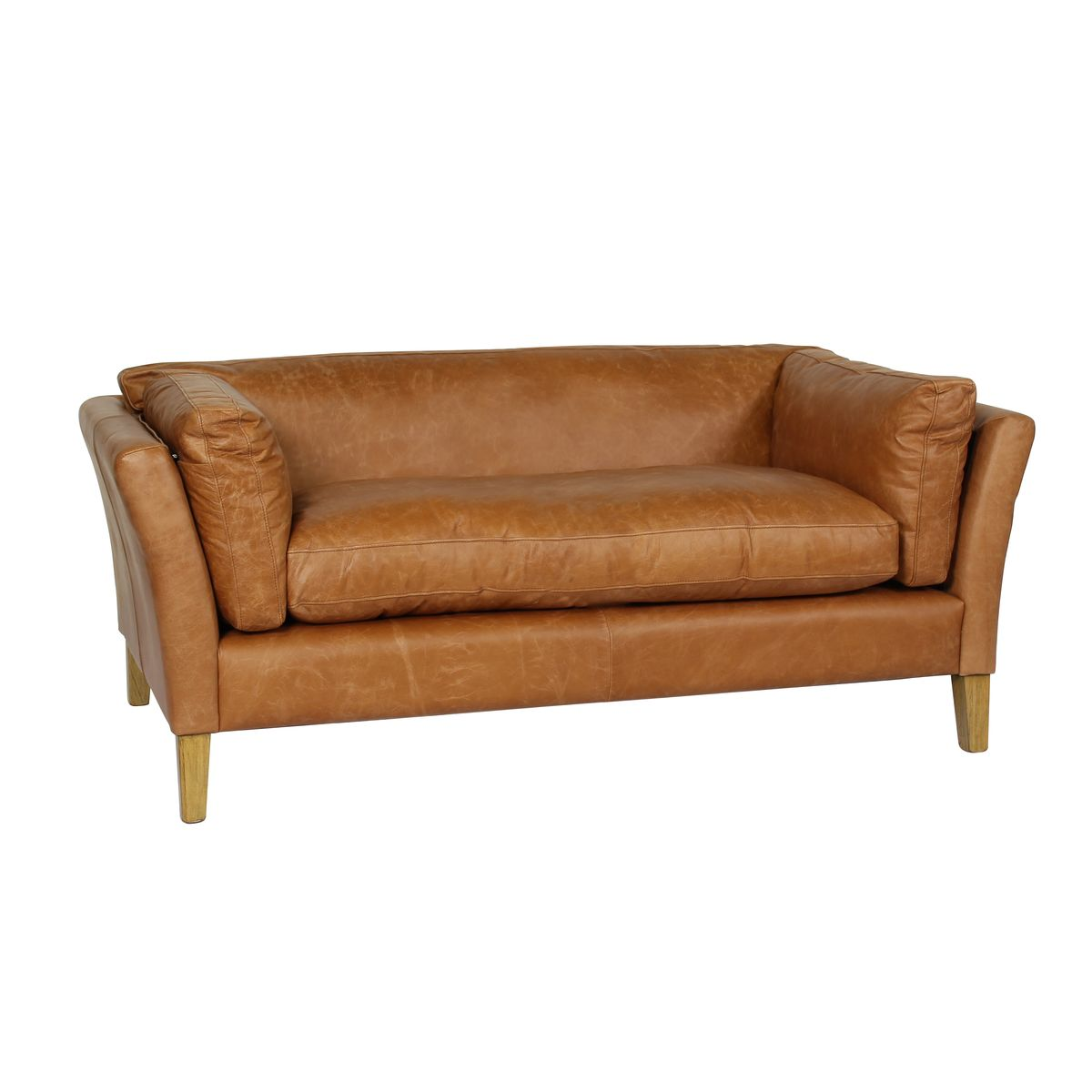 Canapé droit 3 places en cuir noisette pieds en bois