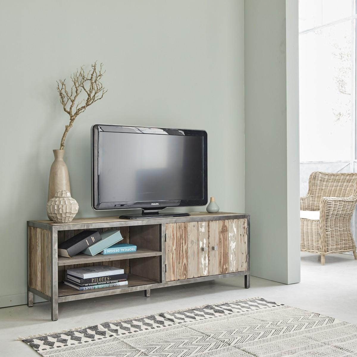 Meuble tv 1 placard et 2 niches en pin recyclé